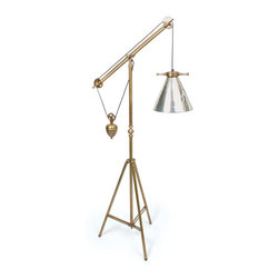 Go Home - Go Home Weighted Floor Lamp with Antique Silver Glass Shade - If you wish to have something that is rich in its ethnic features, this weighted vintage floor lamp with antique silver glass shade is an ideal piece for you. This Weighted Vintage Floor Lamp with Antique Silver Glass Shade features a tripod stand and a lamp hung over two pulleys. With 11 inch diameter shade, this weighted vintage floor lamp with antique silver glass shade provides a rich sophisticated look to the entire dcor.