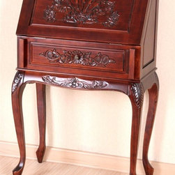 International Caravan - Classic Hand Carved Wood Secretary with Cabri - Introduce a classic appearance to your home office, favorite living space and more. Solid wood secretary table has layered, hand carved floral highlights, all enhanced with antique stain finish. Cabriole legs bring stylish stability, while fold out front lets you conceal your laptop, bills and more. Very sturdy. Fold out classic front. Made of hand-carved wood. Antique Stain Finish. Minor Assembly. 14 in. W x 27 in. L x 43 in. H (35 lbs.)