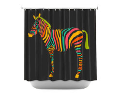 DiaNoche Designs - Shower Curtain Artistic - Zebra II - DiaNoche Designs works with artists from around the world to bring unique, artistic products to decorate all aspects of your home.  Our designer Shower Curtains will be the talk of every guest to visit your bathroom!  Our Shower Curtains have Sewn reinforced holes for curtain rings, Shower Curtain Rings Not Included.  Dye Sublimation printing adheres the ink to the material for long life and durability. Machine Wash upon arrival for maximum softness on cold and dry low.  Printed in USA.