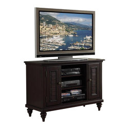 Home Styles - Home Styles Bermuda TV Stand - Home Styles - TV Stands - 554209 - Inspired by the fusion of British traditional and old world tropical design the Bermuda Collection highlights poplar solids and sapelli veneers in a deep multi-step Espresso finish.  Further inspiration can be found in the shutter doors and turned feet.  Ample component storage is provided in the Bermuda Entertainment Console's center compartment with two adjustable shelves as well as in the two storage cabinets each with two adjustable shelves.  Effectively hidden cable access points allow for neat wire management.