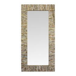 """Linon Home Decor - Linon Home Decor Magazine with Gold Thread Leaner Mirror X-1-LXX5039RIM-TIMA - Handcrafted from natural fibers, the Magazine with Gold Thread Leaner Mirror is a work of art. Measuring 36""""x72"""" this piece is perfect for hanging or simply leaning against a wall for a dramatic accent. The simple, versatile design easily complements a variety of d&#233:cor colors and styles. We suggest you consult a professional before hanging."""