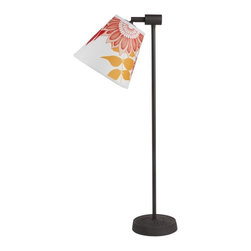 Lights Up! - Zoe Table Lamp - 1 Light t- Anna Red - Point your room in a new direction with this table lamp. It's rustic and modern, with a simple base made of dark iron. The shade comes in a range of colors, materials and patterns and attaches to the base on an angle that lets you point light directly where you need it. It's great for reading or shining a light on your favorite decorative objects.