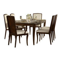 Homelegance - Homelegance Abramo 8-Piece Rectangular Dining Room Set in Walnut - Retro-contemporary design takes an exotic twist in the Abramo collection. Sapele veneers lend to the unique high and low-lights that flow over each piece of this modern dining offering. Exuding sophistication with each curve of the bow-fronted china and server, nickel hardware shines as the ultimate design punctuation. Solid back chairs feature book-match Sapele veneers and white bonded leather seating _ front of seat backs feature button tufting. Door and drawer storage adds to the functionality of the collection, providing the extra space you need for your tabletop decor.