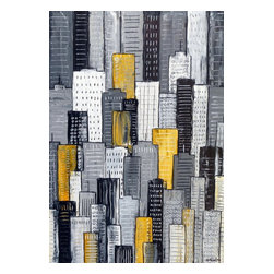 City In Yellow & Gray, Original, Painting - A tonal cityscape painting in textured greys with yellow highlights. A striking piece for your art collection. There is a real sense of naivety and fun to these pieces, simple yet effective and a joy to create.
