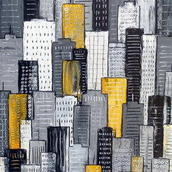 """City In Yellow & Gray"" Artwork - A tonal cityscape painting in textured greys with yellow highlights. a striking piece for your art collection. there is a real sense of naivety and fun to these pieces, simple yet effective and a joy to create."