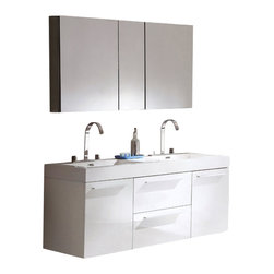Fresca - Fresca Opulento Double Sink Bathroom Vanity w/ Medicine Cabinet, White - There is always great design in simplicity. Double the greatness with this double sink vanity with accompanying medicine cabinet. To ease any storage worries, beautiful mirrored medicine cabinet will satisfy immediate storage needs for two. A great ensemble for those with room to spare but not without limitations on measurements. Ideal for anyone looking for a winning combination of style, sleek design, and size that brings it all together to present something dashingly urban.