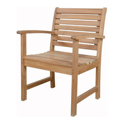 Anderson Outdoor Furniture - Victoria Dining Armchair - This armchair puts you in the lap of luxury — literally. The combination of timeless design and quality, solid-teak construction make this the perfect addition to your backyard, patio or deck.