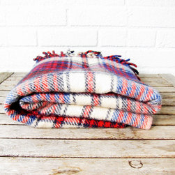 Vintage Plaid Wool Throw - La Roux Vintage