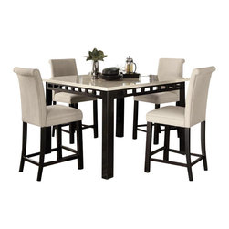 Standard Furniture - Standard Furniture Gateway White 5-Piece Counter Dining Room Set w/ Parsons Bars - Impressive proportions and bold styling give Gateway Dining a dynamic contemporary personality.