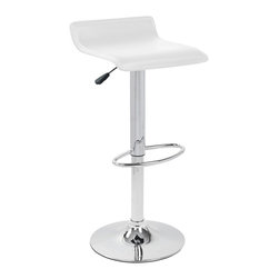 Lumisource - Ale Bar Stool White - White always works. This bar stool presents a snowy-white leatherette seat cushion and a polished chrome base, pole and footrest. Height hydraulics allow you to adjust the seat to a variety of positions, making it a sleek addition to any in-home bar.