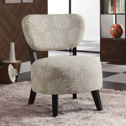 Coaster - Beige Casual Accent Chair - Spice up any room with this light floral accent chair with padded seating and dark brown wood legs.