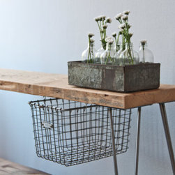 Reclaimed Wood Bench With Sliding Locker Basket by Urban Wood Goods - This industrial bench would add character to any space. I love the idea of the tracked wire basket below.