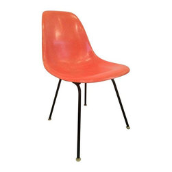 Herman Miller - Pre-owned Herman Miller Fiberglass Shell Chair - This Charles & Ray Eames for Herman Miller chair is a mid-century classic! A nice, bright pop of orange will look lovely in any room. Use as an office chair, occasional chair, or a perch for your adorable pup. 18.25 inches tall at seat.    Conditon Details: significant wear and tear, fiberglass is not cracked or chipped - but has marks.
