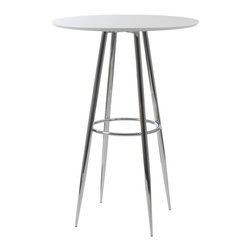 "Euro Style - Bravo Bar Table 30"" - White/Chrome - 30"" diameter top isn't the only thing that makes the Bravo Bar table a great place to gather.  The circle is repeated in the base for strength and eye appeal.  It just says, ""Relax, I'd like to buy you a drink.""  But c'mon, it's a table!"
