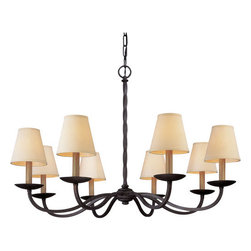 Troy Lighting - Troy Lighting F2668 Alexander 8 Light Chandelier with Fabric Shades - Tradition revitalized for a contemporary home, the Alexander 8 Light Chandelier is a marvelous addition over dining tables, in hallways and more. Hand-worked from wrought iron in a classic English iron hue, this chandelier is finished with individual cream shade diffusers for a crisp mid-century touch. Individual arms, bobeches, and a cool twisted center give it an appeal unmatched by competitors.This simple hand-worked wrought iron chandelier will provide solid lighting performance. Troy Lighting F2668 Features: