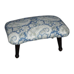 Antique Blue Paisley Footstool - What a cute little footstool to accent your decor! This circa early-1900s stool has been reupholstered with beautiful paisley fabric in blue, grey, cream and hints of soft green. It is the perfect size to pair next to a chair to hold magazines or put your feet up after a long day.