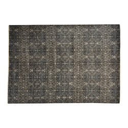1800-Get-A-Rug - Hand Knotted Black Tone on Tone Wool and Silk Oriental Rug Sh19429 - Hand Knotted Black Tone on Tone Wool and Silk Oriental Rug Sh19429