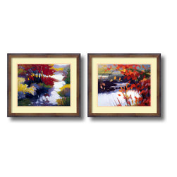 Amanti Art - Water and Color - set by Tadashi Asoma - In these fine art prints, Tadashi Asoma artfully depicts a colorful landscape, in which the fall tones of the leaves contrast with the white and dark shades of the calm water. Asoma's work is an appreciation of color, and how one color drifts into another.