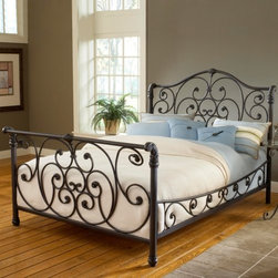 Mandalay Sleigh Bed - Feeling fancy? Then go for antique chic in the Mandalay Sleigh Bed. Luxurious and fanciful this sleigh bed is crafted of sturdy metal with a warm rustic Old Brown finish - the perfect way to create an aged look without those countless trips to the antique mall. Intricate scrollwork and highly detailed castings carry from the headboard through the side rails and footboard accenting the elegant sleigh bed design. The ornate construction adds just the right amount of fancy to a country classic that's sure to keep your style as imaginative as your dreams. Available in king or queen sizes. Complete Bed Dimensions: Queen: 83.5L x 65.25W x 58H inches King: 83.5L x 81.25W x 58H inches About Hillsdale FurnitureLocated in Louisville Ky. Hillsdale Furniture is a leader in top-quality affordable bedroom furniture. Since 1994 Hillsdale has combined the talents of nationally recognized designers and globally accredited factories to bring you furniture styling and design from around the globe. Hillsdale combines the best in finishes materials and designs to bring both beauty and value with every piece. The combination of top-quality metal wood stone and leather has given Hillsdale the reputation for leading-edge styling and concepts.
