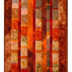 "Remains Of The Day #2 Wall Art Quilt (Original) By Connie Betterley - This original wall art quilt is a smaller and different interpretation of a much larger art quilt that I made. It is made from the leftover strips of fabric created for that piece - hence ""remains of the day."" This one-of-a-kind art quilt is crafted out of cotton batik fabrics and is delivered ready to hang in a special place in your home or office."