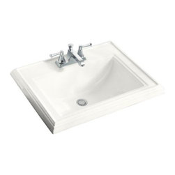 "KOHLER - KOHLER Memoirs Self-Rimming Bathroom Sink with 4"" Centerset Faucet Holes - KOHLER K-2241-8-0 Memoirs Self-Rimming Bathroom Sink with 8"" Widespread Faucet Holes in White"