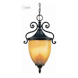 Troy Lighting - Troy Lighting Nouveau Traditional Outdoor Hanging Lantern X-ZBO8261F - Troy Lighting Nouveau Traditional Outdoor Hanging Lantern adds a perfect symphony of glass and iron to your entrance. This is a remarkable lighting fixture with a highly decorative Art glass shade that complements the decorative hand forged iron frame with its Old Bronze finish in the most superb way. This piece makes a stunning welcoming light.