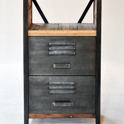 """Industrial / Locker Room Style 2 Drawer, 2 Shelf Cabinet - A 2 drawer, 2 shelf """"locker room style"""" cabinet made from salvaged / reclaimed boat wood.  This furniture has a rustic / modern / industrial look and is very well made."""