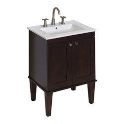 American Imaginations - 24-in. W x 18-in. D Transitional Birch Wood-Veneer Vanity Set In Antique Walnut - This transitional vanity set belongs to the exquisite Roxy design series. It features a rectangle shape. This vanity set is designed to be installed as an floor mount vanity set. It is constructed with birch wood-veneer. It is designed for a 8-in. o.c. faucet. This vanity set comes with a lacquer-stain finish in Antique Walnut color. Sleek and modern 24 in. vanity with extended legs featuring a large cabinet with a soft-close door This Vanity Set features Brushed Nickel hardware. Faucet and accessories not included.