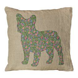 Kathy Kuo Home - French Bulldog Rustic Linen Ditsy Floral Down Throw Pillow - How can you resist this petal pooch-er? Hand-printed on 100 percent oatmeal linen, this dapper dog is covered in daisies in a field full of summer colors. It's a great way to add fun and color to your favorite room.