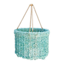 "ro sham beaux - Lily Quartz Chandelier - Blue -18"" - An elegant and glam light fixture, the Lily chandelier delivers a striking accent to a living room or dining room. Hanging from a hemp-wrapped round frame, quartz beads delight with cascading arrangements for a stunning look. Brass accents. Accepts two 60W type B bulbs (not included). Hardwired. Chain and canopy included"