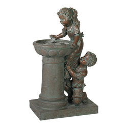 """Lamps Plus - Give Me a Boost Decorative Outdoor Fountain - A boy helps his sister reach the top of a drinking fountain by giving her a boost in the charming scene depicting in this fountain. The figures feature precise detail in their hair and clothes enabled by the cast resin construction. The included pump is hidden beneath a cover in the drinking fountain basin. The scene is set upon a rectangular platform. Patinaed bronze finish. Cast resin construction. Water pump is included. One year warranty. For indoor/outdoor use. 20"""" wide. 14"""" deep. 35 3/4"""" high.  Floor fountain.  Patinaed bronze finish.  Cast resin construction.  Water pump is included.  One year warranty.  For indoor/outdoor use.  20"""" wide.  14"""" deep.  35 3/4"""" high."""