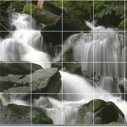 Picture-Tiles, LLC - Waterfalls Photo Ceramic Tile Mural 13 - * MURAL SIZE: 48x72 inch tile mural using (24) 12x12 ceramic tiles-satin finish.