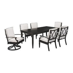 Emerald Outdoor Arandel Patio Dining Set - Presenting the Emerald OutDoor Arandel Patio Dining Set in which timeless, impeccable styling combines with low-maintenance, easygoing materials for a set that will help you make the most of home court advantage in the fine sport of entertaining. This set includes a 76 in. rectangular table, 4 dining arm chairs, and 2 swivel rocker dining chairs. Be on your A game every time you host with resilient, high-contrast cushions of high density foam and luxurious Sunbrella fabric for superior fade- and stain-resistance. It's a quick-drying material that repels stains and resists mildew. Finely molded finials, skirts, and arms on each piece bring Victorian-era charm into an up-to-date form. Cast aluminum construction is low-maintenance, rust-free, and sure to endure through many seasons. This indelible material dries quickly while resisting mildew and stains. Each cushion is natural in color with welted trim in dark grey.Dimensions:Table: 76L x 42W x 28.9H in.Dining chair: 23.7W x 27.2D x 36.6H in.Swivel rocker: 23.7W x 27.2D x 36.6H in.About Emerald Home FurnishingsFounded in 1962, Emerald Home Furnishings supplies to home furniture retailers throughout the United States, Canada, Mexico, Australia, Japan, Taiwan, England, and other countries. The company originally started as a distributor of bed frames and furniture, and over the years, has added a number of high-quality items to its product line. The company's mission is to strive for innovation, integrity, and excellent service.