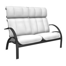 Homecrest - Homecrest Bellaire High Back Loveseat - B4290-03-JASPER - Shop for Chairs and Sofas from Hayneedle.com! The full-bodied design of the Homecrest Bellaire High Back Loveseat is like being cradled in a giant hand. Except instead of a hand you have an aluminum frame. And cushions. OK It's really not like a hand at all but at least we hope you came away with a gentle cradling sort of vibe here. Thick supportive cushions have a foam interior that's wrapped in layers of durable outdoor fabric that's offered in a range of colors and styles. That high supportive back along with the wide base and appealing curved arms are all crafted from all-weather aluminum. Aluminum is naturally rust-resistant making it ideal for outdoor furniture. This piece is offered with your choice of powder-coat finishes so take the time to create something that's not only uniquely you but is also uniquely suited to dealing with the rigors of life outdoors. About Homecrest:The Homecrest brand was founded in 1953 as the offspring of a retail furniture shop in Wadena Minnesota when Mert Bottemiller and Al Engelmann set out to offer the market a better ottoman than those offered by their competitors. This venture soon led to their first line of patio furniture and in 1956 Bottemiller patented the swivel rocker mechanism that is still a central part of the products they produce today from their plant in Minnesota. For almost 60 years the Homecrest brand has been the go-to name for quality outdoor furniture when customers want a sophisticated versatile style that complements their interior decor and expands their lifestyles outside.