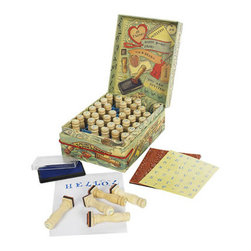 """Kids A-B-Seas Stamp Set - The kids a-b-seas stamp set measures 4.25 x 5.5 x 2.25"""". Fun, interactive stamp set, featuring a complete alphabet, numbers and punctuation. Forty-two wood turned stamp handles, labels, and stamp pads. Ink pad. Some assembly required."""