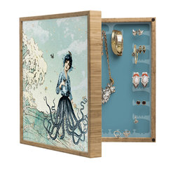 DENY Designs - Belle13 Sea Fairy BlingBox Petite - Handcrafted from 100% sustainable, eco-friendly flat grain Amber Bamboo, DENY Designs BlingBox Petite measures approximately 15 x 15 x 3 and has an exterior matte cover showcasing the artwork of your choice, with a coordinating matte color on the interior. Additionally, the BlingBox Petite includes interior built-in clear, acrylic hooks that hold over 120 pieces of jewelry! Doubling as both art and an organized hanging jewelry box, It's bound to be the most functional (and most talked about) piece of wall art in your home! Custom made in the USA for every order.