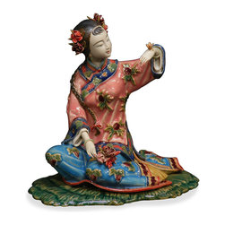 China Furniture and Arts - Chinese Shi Wan Porcelain Lady - With vivid facial expression and hand gesture, this porcelain figurine depicts a young Chinese lady sitting in a graceful pose. Her typical maiden hairdo adds to the cheerful playfulness of her character. Completely hand crafted from Shi-Wan, Canton China.