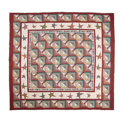 Patch Quilts - Woodland Star and Geese Quilt  Luxury King 120 x 106 Inch - Intricately appliqued and beautifully hand quilted  - Bedding ensemble from Patch Magic  the name for the finest quality quilts and accessories  - Machine washable  - Line or Flat dry only Patch Quilts - QLKWDSG