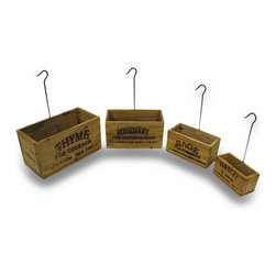Zeckos - Set of 4 Vintage Look Nesting Herb Growing Boxes with Hangers - These Vintage Style Nesting Herb Crates offer a bit of rustic charm to your farmhouse decor. They can used be used in the kitchen, laundry room or in your potting shed. Put small potted herbs in them for a neat vertical herb garden. They feature markings on the front side for parsley, sage, rosemary and thyme. Each nesting garden box comes with a rustic metal hook for easy hanging. The herb crates have a distressed finish and are made to looked aged.