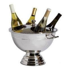 Franmara - Polished Stainless Steel Round Festive Four-Bottle Cooler with Lid - chrome bottle cooler, cooler bowl, footed bowl, chrome lid, wine bottle holder