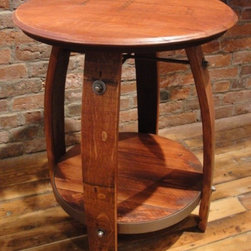 """accent furniture - American made side table from wine barrels.  Can be used as a small bistro table.  Oak and Pine wood parts, with pine stain finish.  Authentic stamped wine vendor logo on top. 28""""H x 23""""W x 23""""D"""