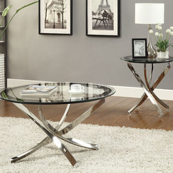 Coaster - 702587 2 Pcs Occassional Table Set - This occasional group has a uniquely designed and curvaceous base with a nickel finish and tempered glass table tops with a black frame around the edge.