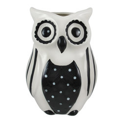 Zeckos - Black and White Ceramic Owl Vase - This black and white owl vase is an adorable accent to add to your home or office, and makes a wonderful gift for a friend. Made of ceramic, it measures 8 1/4 inches tall, 6 inches wide, 5 1/2 inches deep and is hand painted with contrasting polka dots and stripes for an artistic effect.