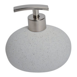 Sand Stone Effect Stoneware Soap Dispenser Light Grey - This elegant soap dispenser for bathrooms is in stoneware with a sand stone effect and simple lines and will add a natural look and feel to your decor. This soap dispenser is a lovely accent for any bathroom with its egg shape and features a length of 4.92-Inch, a width of 3.35-Inch and a height of 5.12-Inch. The chrome-plated top unscrews for refilling with soap or lotion. Wipe clean with soapy water. Color light grey. Accessorize your bathroom countertop in a trendy style with this charming soap dispenser! Complete your decoration with other products of the same collection. Imported.