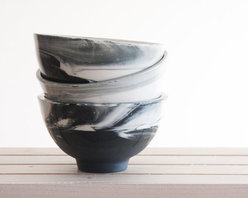 Handmade Marble Black and White Ceramic Bowl by Studio One and Many - These handmade ceramic bowls are glazed to look like marble and have a subtle bluish hue that makes them irresistible.