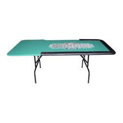 Trademark Global - Green Felt Roulette Table w Folding Legs - Padded armrest. Sturdy Black metal folding legs. Easy set up and storage. 84.25 in. L x 41.5 in. W x 29.75 in. H (74 lbs.)Folding Roulette table comes complete with a casino quality cloth layout. Also features sturdy Black metal folding legs for easy set-up and storage in addition to a padded armrest. This Roulette table is ideal for fund-raisers or use by clubs and organizations.