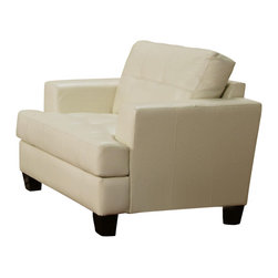 Adarn Inc - Samuel Leather Armchair w/ Tufted Back Cushion, White, Not Include Ottoman - The Samuel group will give your contemporary living room a stylish update. The pieces are crafted of sophisticated bonded leather, over a solid hardwood frame with webbed backs and sinuous spring bases for support and durability. These pieces feature plush tufted attached back cushions, and deep t-cushions on the seat for cool comfort. Sleek track arms and square tapered wood legs complete the look. These simple pieces are easy to blend with your home decor, and will help you create the comfortable contemporary style you desire.Chair:42''L+39''W+33''H.Ottoman:30''L+24''W+19''H