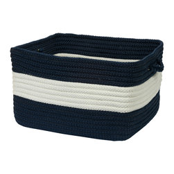 "Colonial Mills, Inc. - Rope Walk, Navy Utility Basket, 14""X10"" - Clean-cut and fresh looking with its classic nautical navy and white stripes, this braided utility basket will help you keep your space shipshape. Use it as a recycling bin or a laundry basket, or to organize kitchen pantry items. The square shape fits well on shelves and is great for holding books and files."