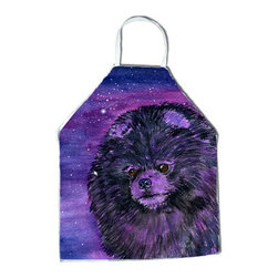 Caroline's Treasures - Starry Night Pomeranian Apron SS8501APRON - Apron, Bib Style, 27 in H x 31 in W; 100 percent  Ultra Spun Poly, White, braided nylon tie straps, sewn cloth neckband. These bib style aprons are not just for cooking - they are also great for cleaning, gardening, art projects, and other activities, too!