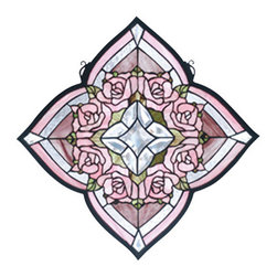 "Meyda Tiffany - 20""W X 20""H Ring Of Roses Stained Glass Window - A Victorian inspired ring of Petal Pink roses are the centerpiece of this quatrefoil window created with 188 pieces of Pink, Tender Green and textured Clear stained glass with 13 Clear glass bevels. Handcrafted with stained art glass utilizing the copper foil construction process, this beautiful Tiffany style window also comes with a solid brass hanging chain and brackets."
